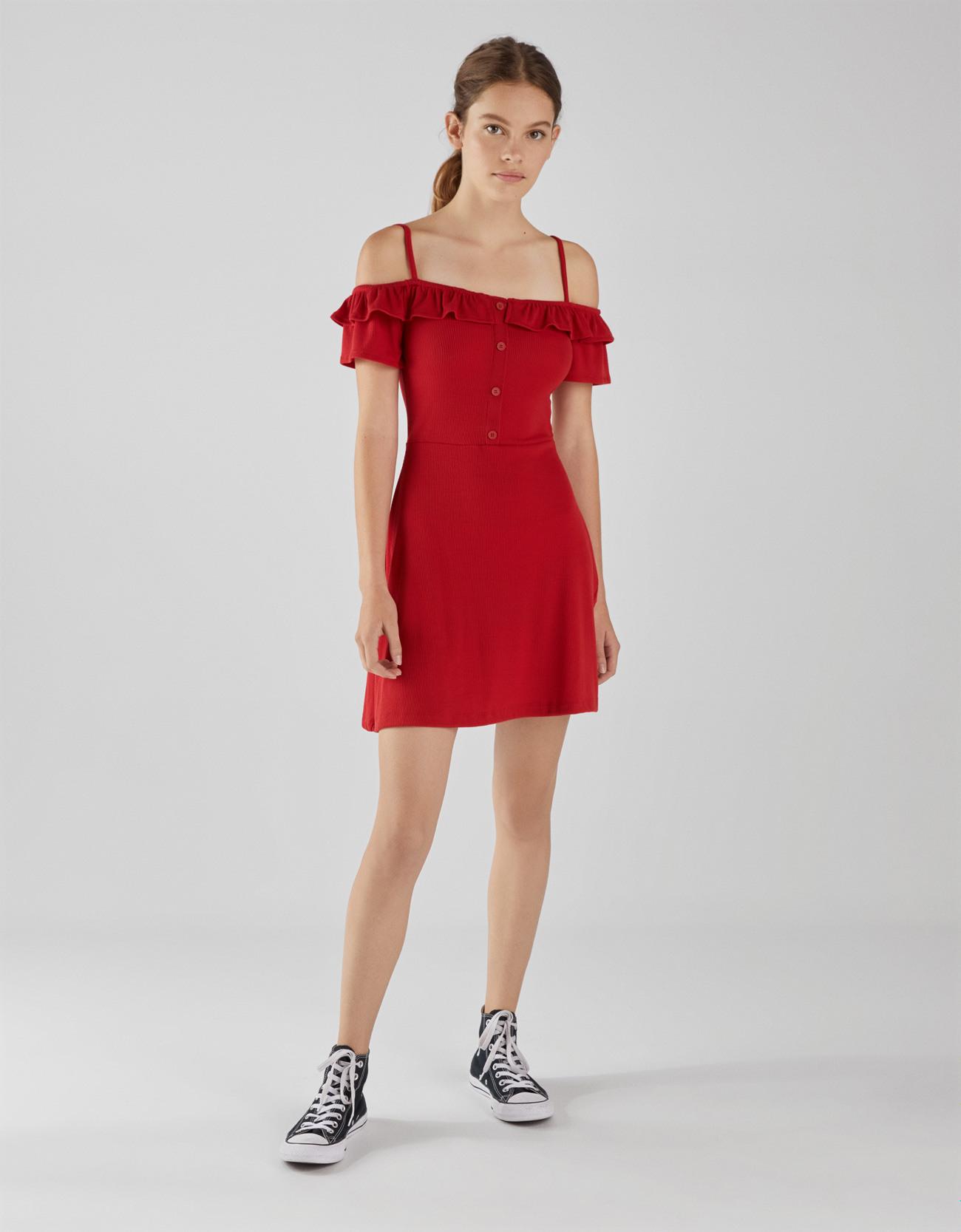 Kurzes Kleid Mit Volants  Kleider  Bershka Germany