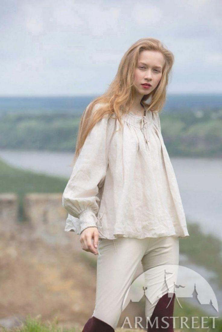 Kurzes Mittelalter Leinenhemd Für Damen Zum Verkauf