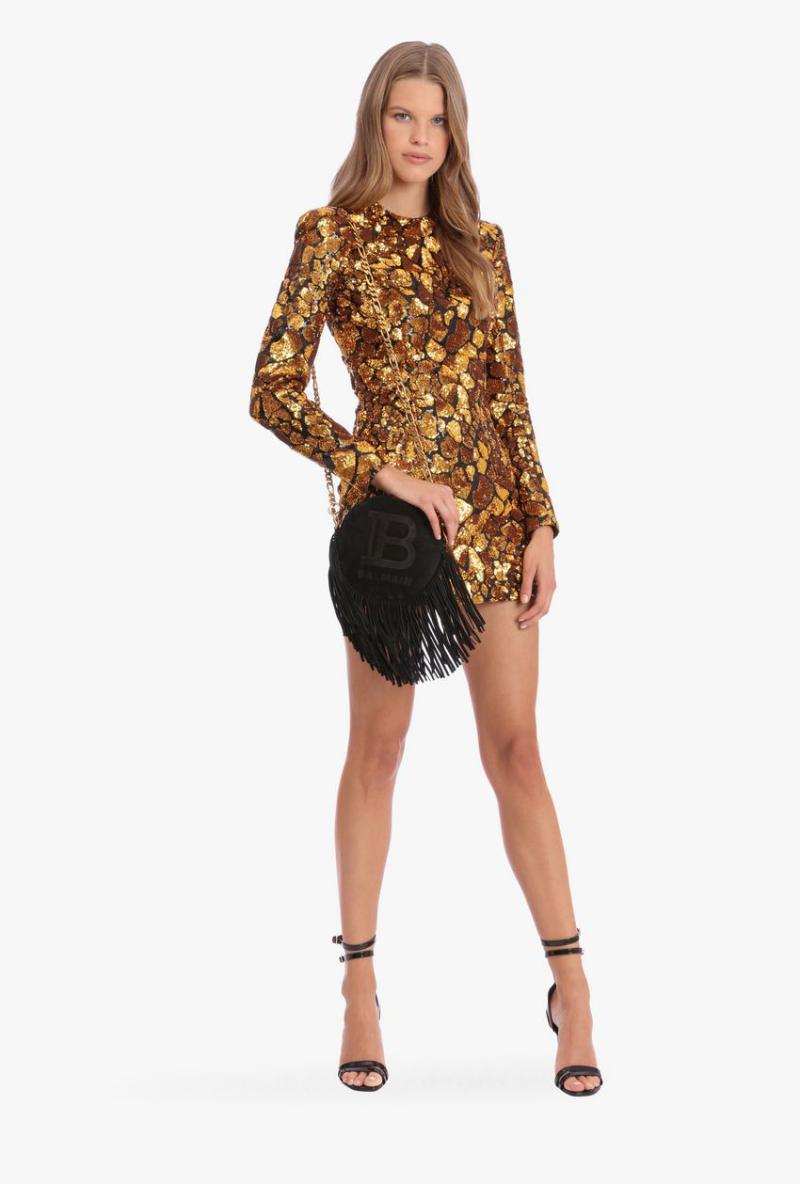 Kurzes Paillettenkleid In Schwarz Und Gold Gold  Damen