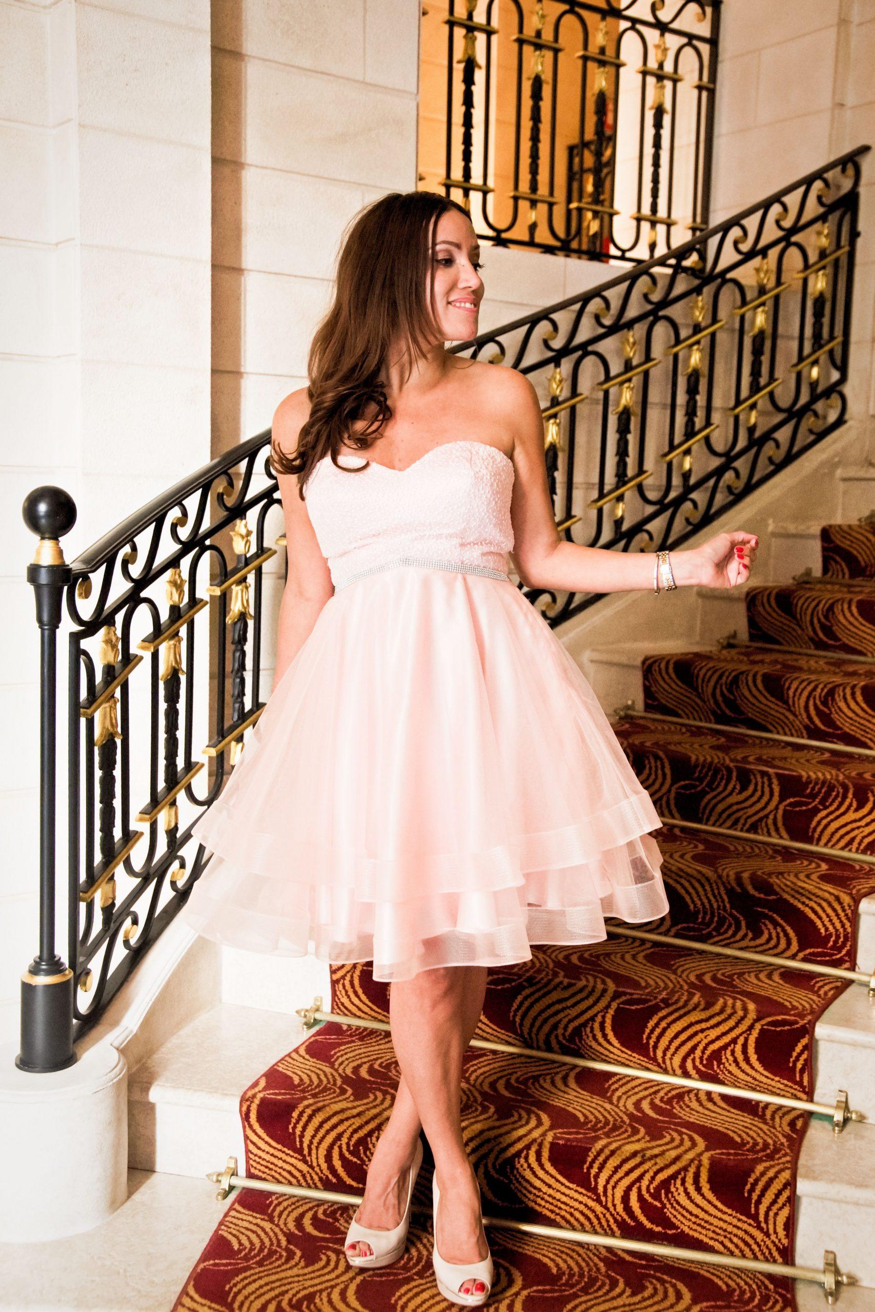 Kurzes Rosa Tüll Cocktailkleid  Kleid Hochzeit