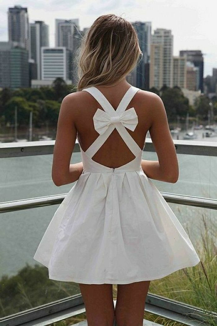 Kurzes Weißes Kleid In 2020  Sommer Kleider Kleidung