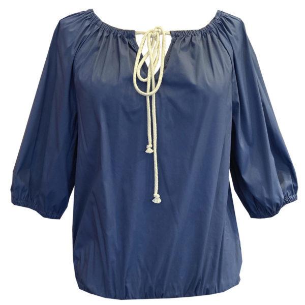 La Camicia  Gestreiftes Kleid Mit Stickerei  Blau/Weiß