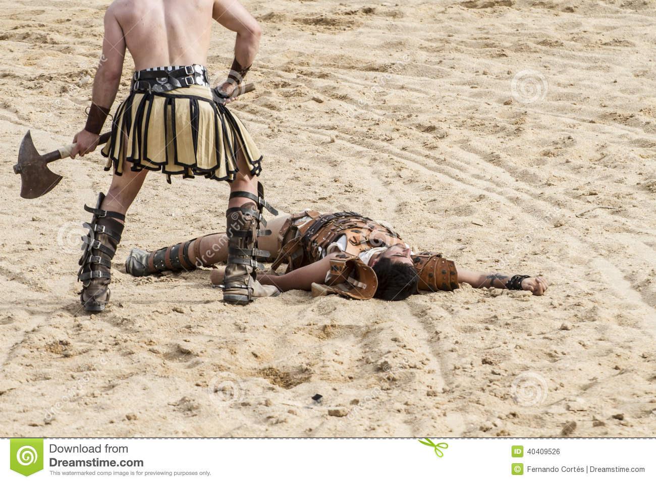 La Mort Gladiateur Combattant Dans L'arène Du Cirque