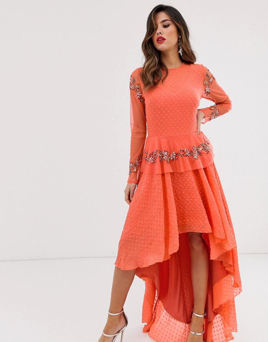 Lace  Beads  Besticktes Kleid Mit Abfallendem Saum In