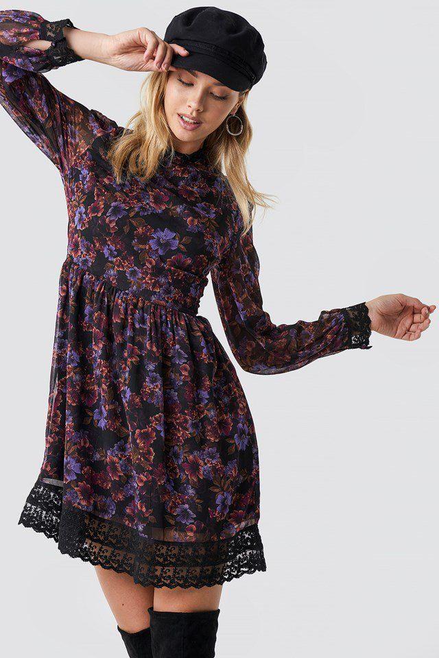 Lace Detail High Neck Dress Blue Carnesbill  Nakd