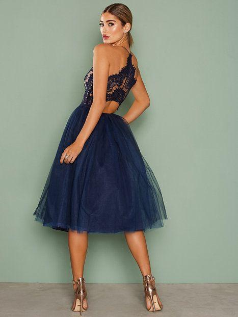 Lace Panel Midi Dress  Party Kleider Mode Kleidung