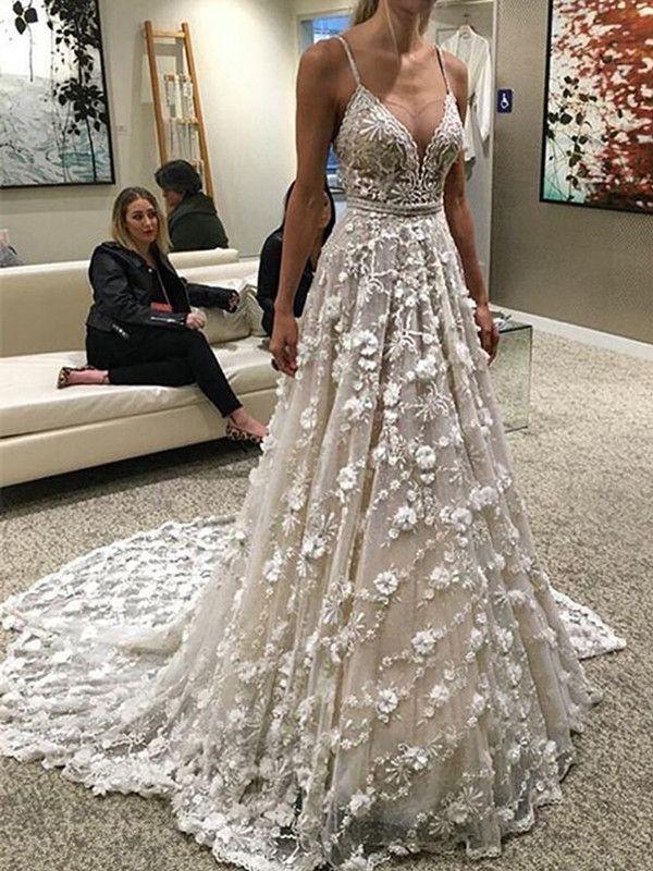 Lang Alinie Spaghettiträger Brautkleid Hochzeitskleid