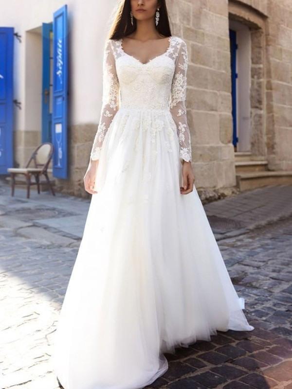 Lang Alinie Spitze Tüll Weiß Brautkleid Mit Lange Ärmel