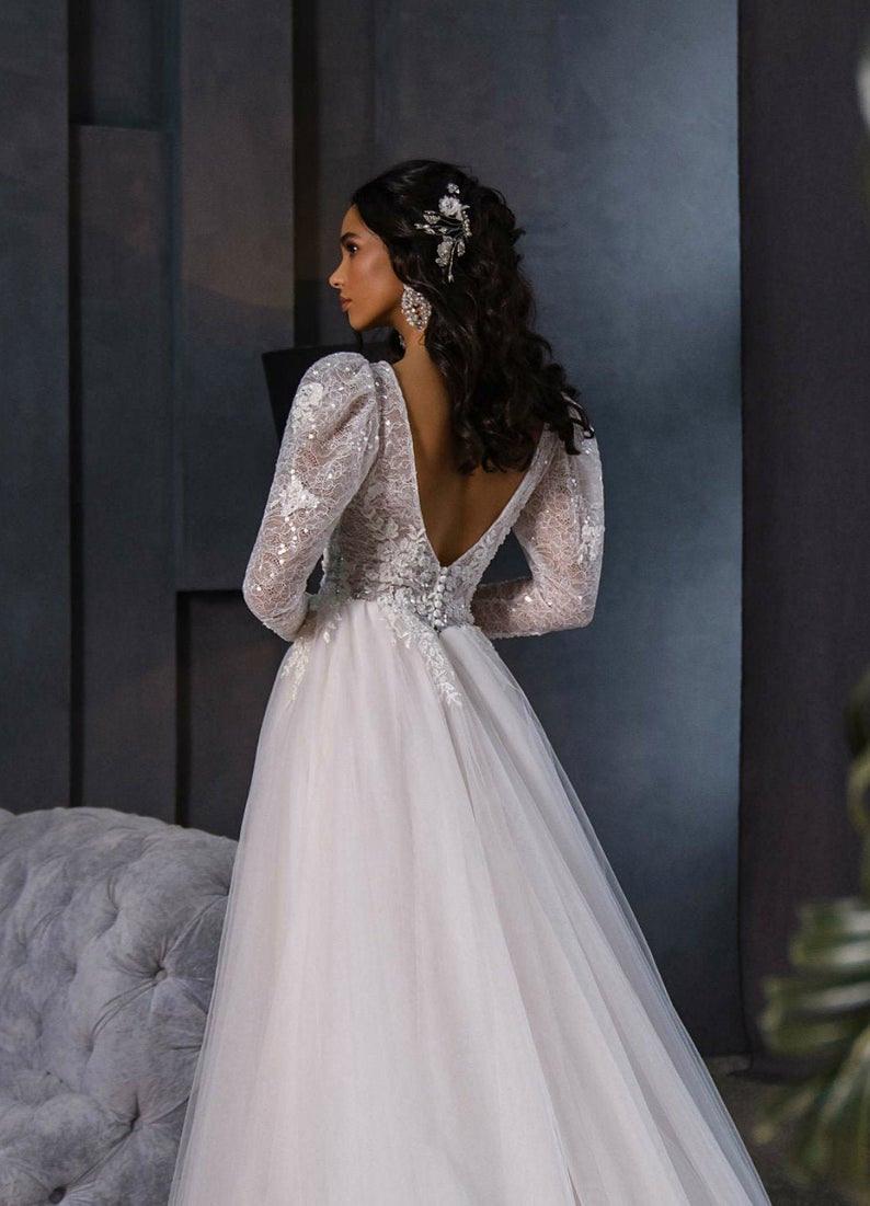 Langarm Hochzeit Kleid Spitze Brautkleid Boho Hochzeit