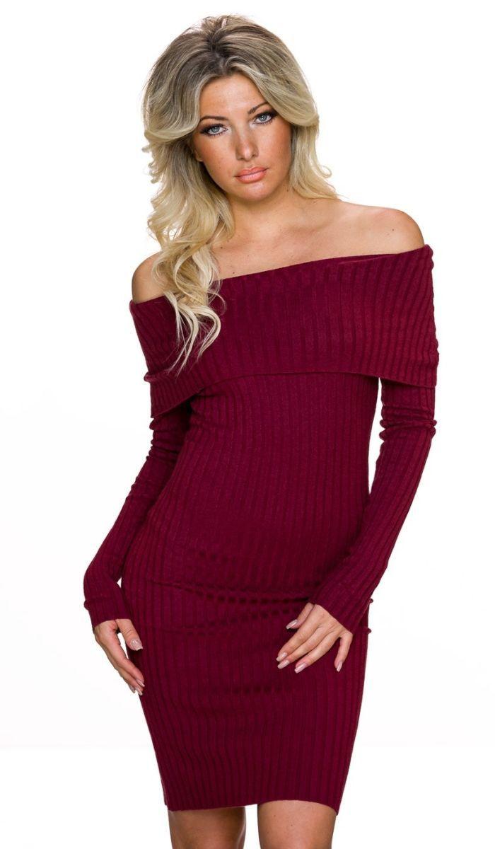 Langarm Kleid Weinrot  Stylische Kleider Für Jeden Tag