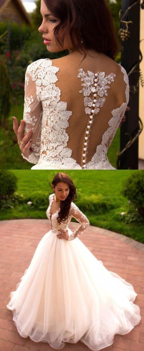Langarm Kleider Lange Weiße Brautkleider Mit Applikation