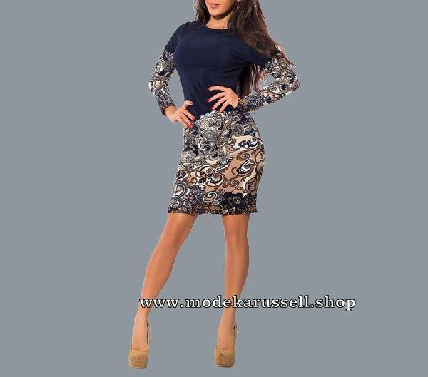 Langarm Midi Blumenkleid Mode Kleid Kleider Fashion