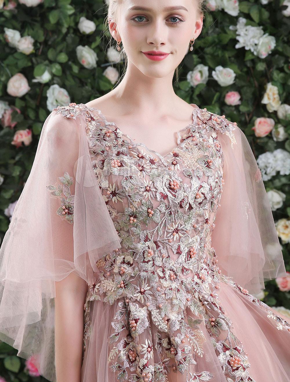 Lange Prom Kleider Luxus Blumen Perlen Schmetterling Ärmel