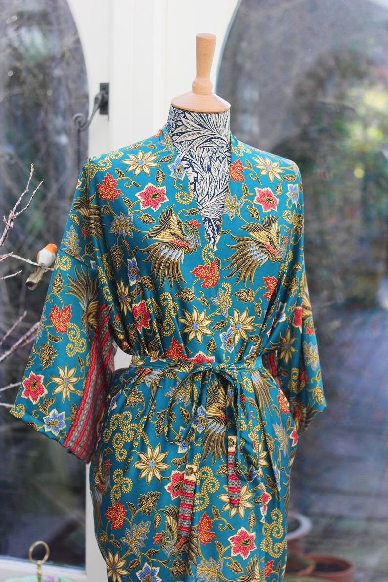 Lange Seide Kimono Robe Muttertag Kleid Vintage Kimono  Etsy