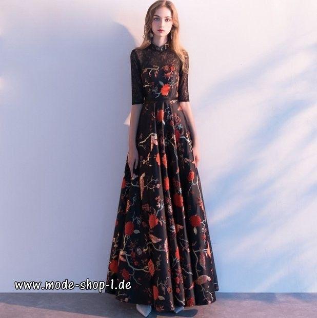 Langes A Linie Abendkleid 2019 Schwarz Mit Blumen
