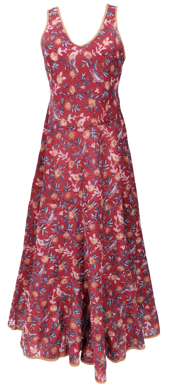 Langes Boho Maxikleid Baumwoll Sommerkleid  Rot
