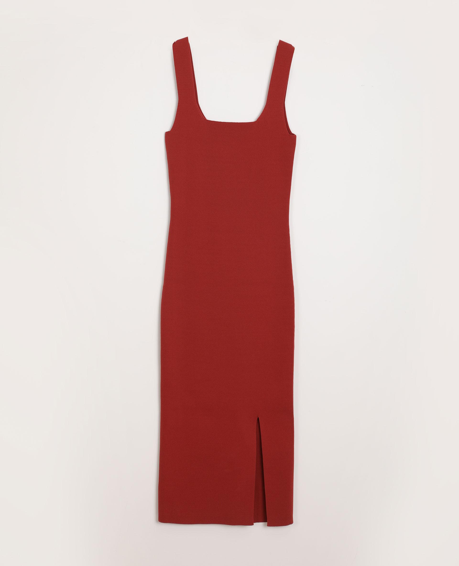 Langes Eng Anliegendes Kleid Korallenrot  781383275A02