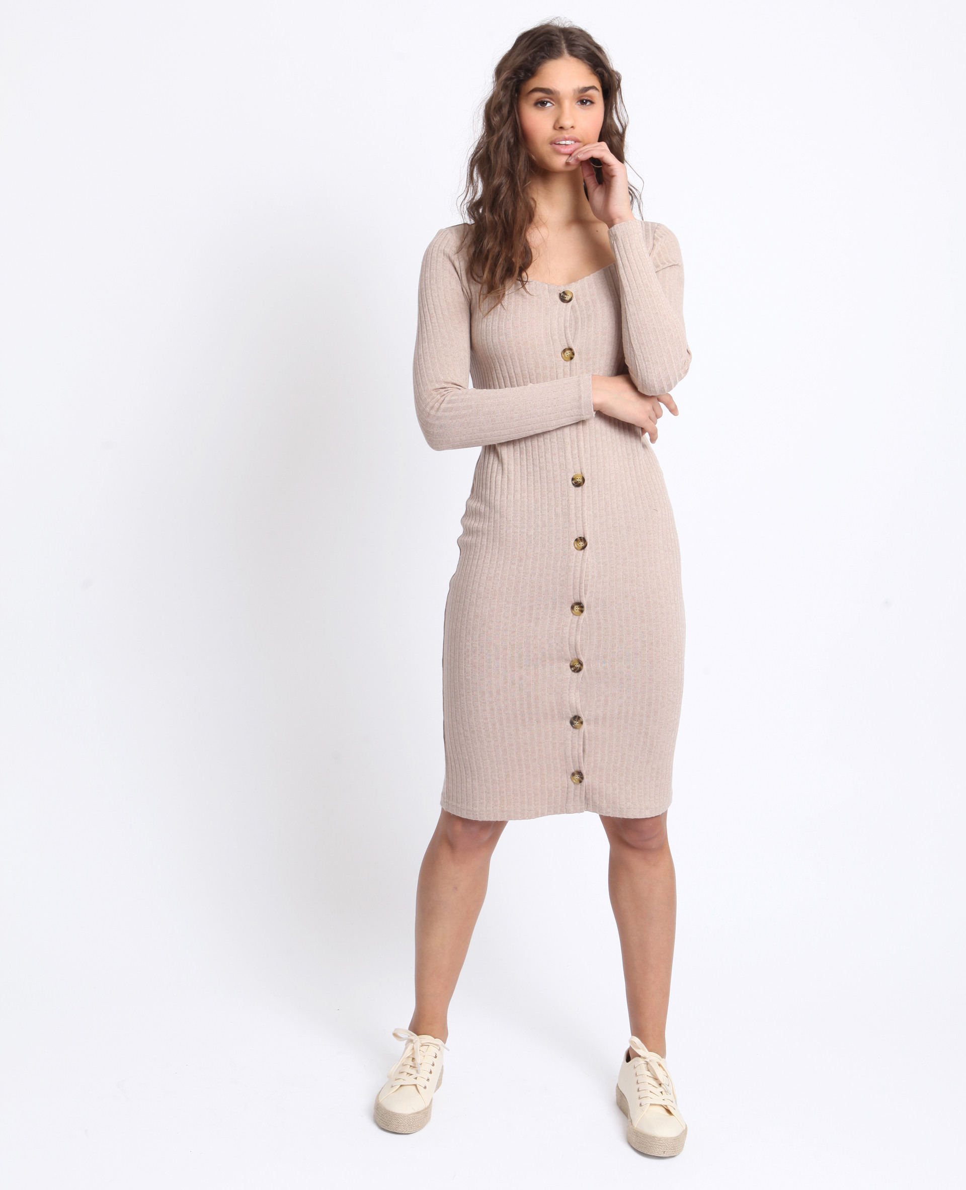 Langes Geripptes Kleid Braun  780961741J07  Pimkie