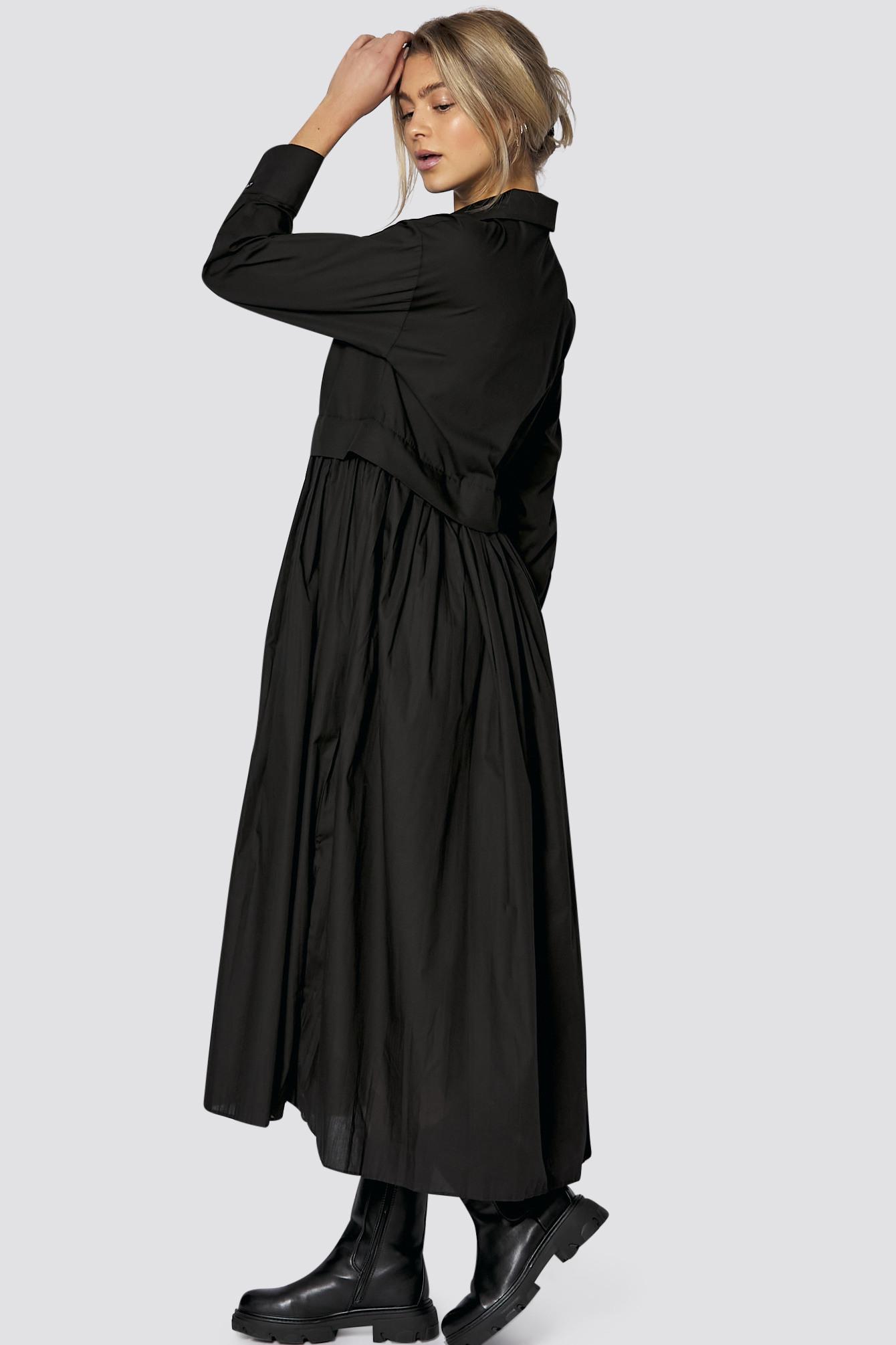 Langes Hemdkleid Mit Knopfleiste In Schwarz  Midikleider
