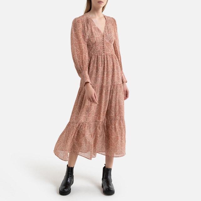 Langes Kleid Aus Bedrucktem Voile Lange Ärmel Rosa