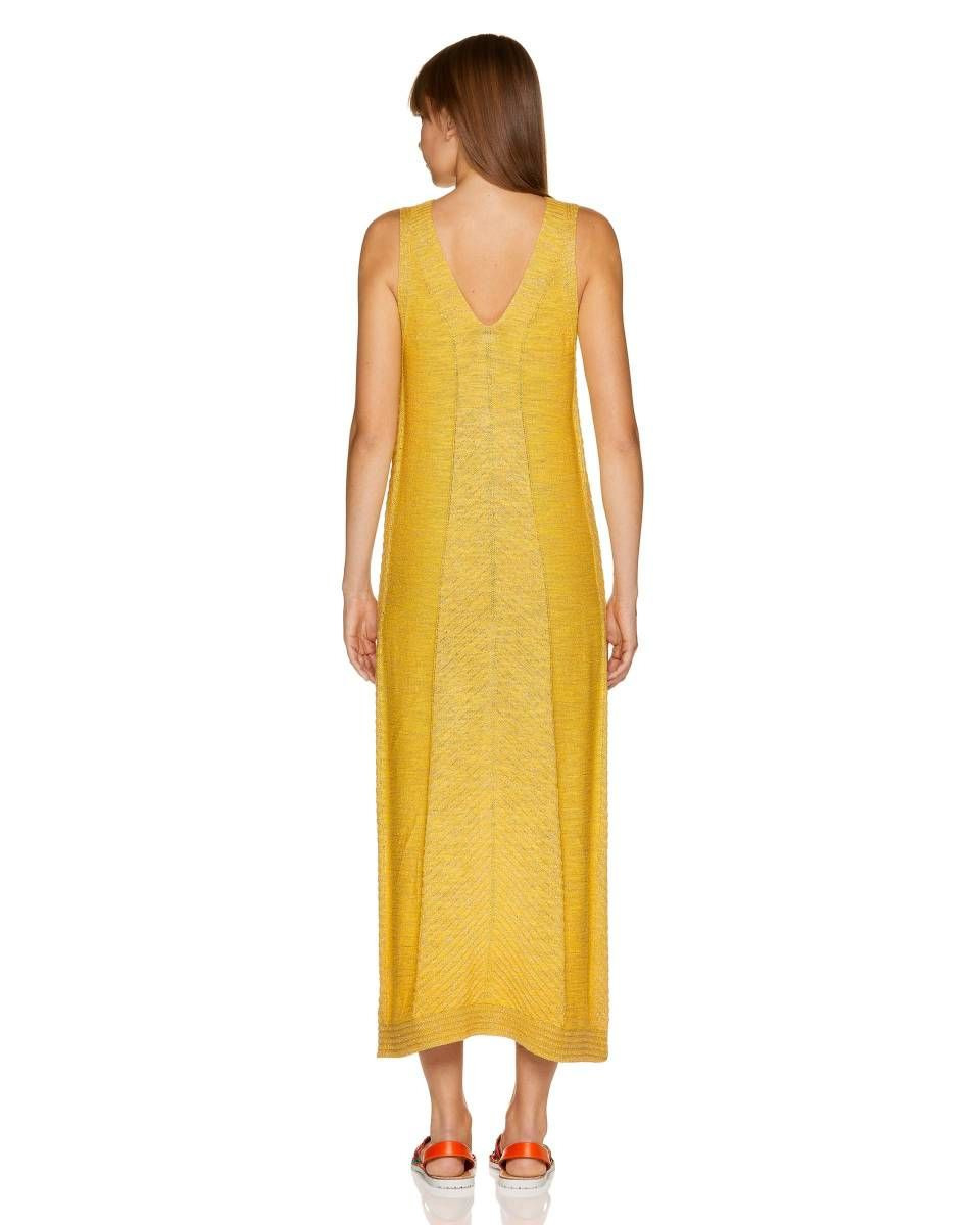 Langes Kleid Aus Einer Leinenmischung Mit Lurex 115Gv8188