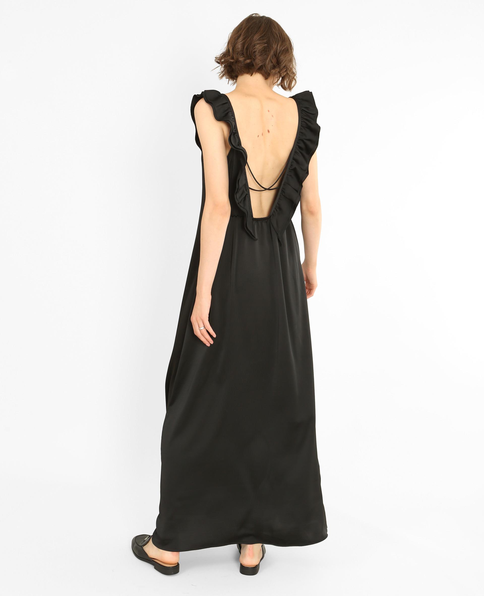 Langes Kleid Aus Satin Schwarz  780777899A08  Pimkie