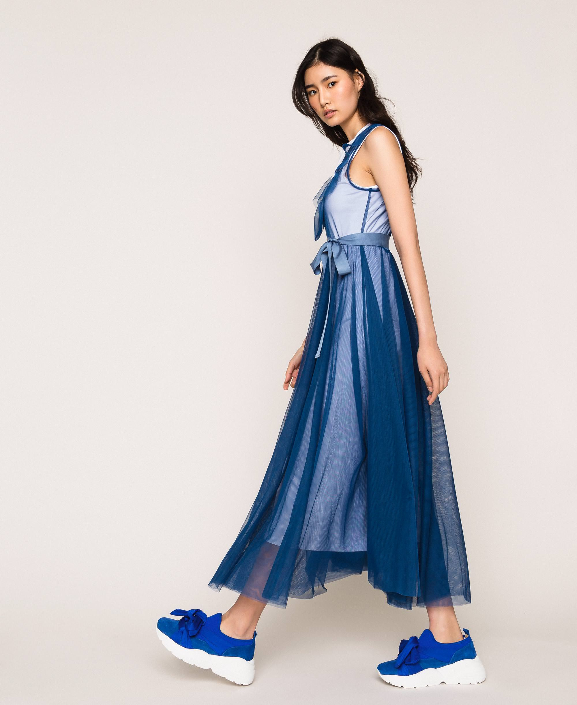 Langes Kleid Aus Tüll Mit Volant Frau Blau  Twinset Milano