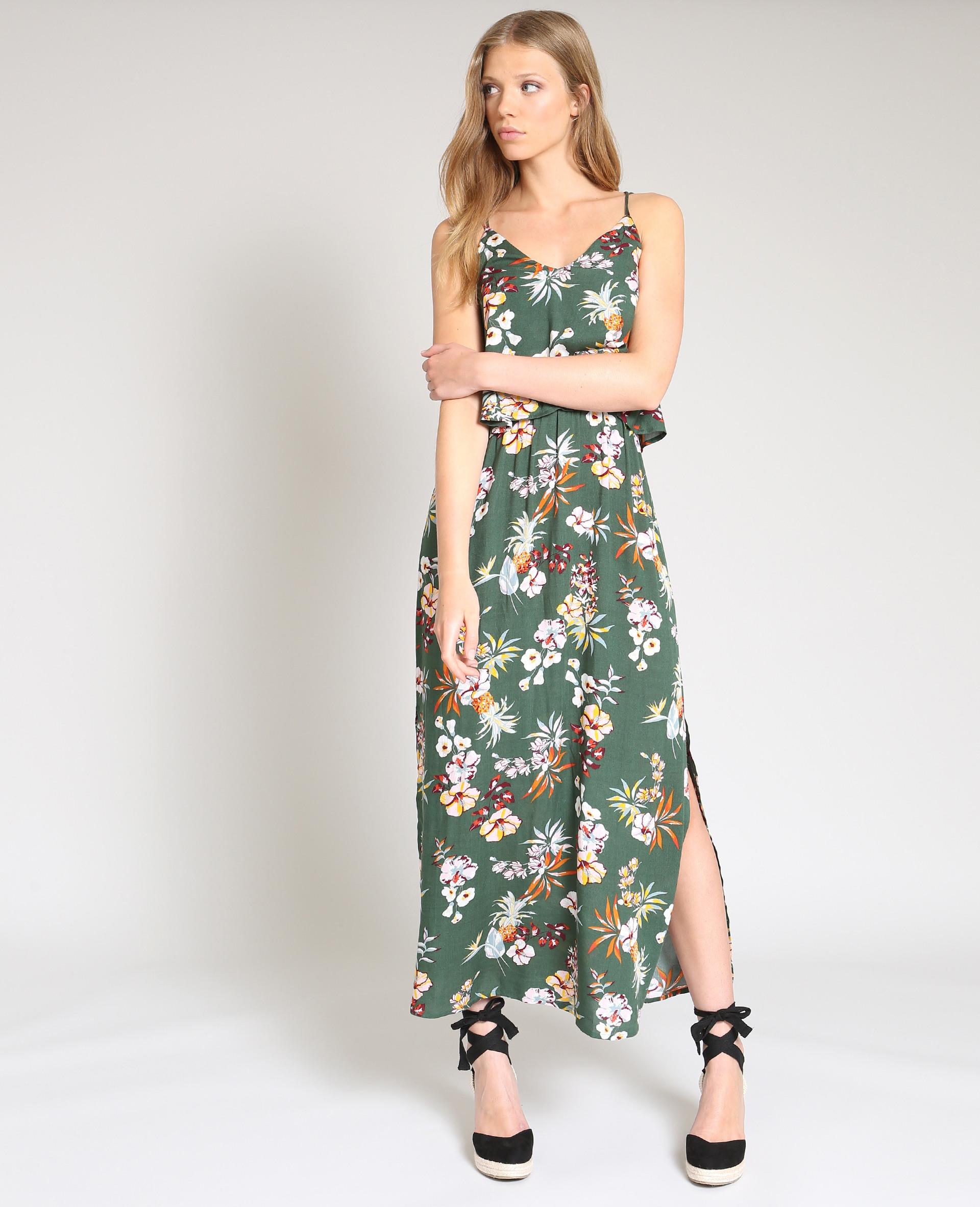Langes Kleid Mit Blumenprint Grün  780870559E3A  Pimkie