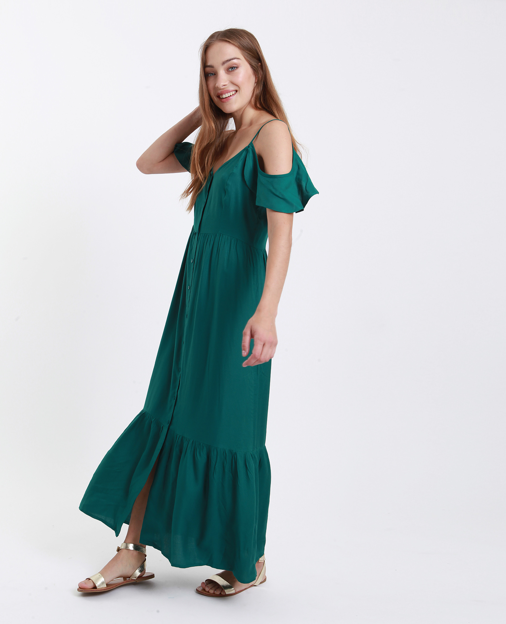 Langes Kleid Mit Knöpfen Grün  781245535A05  Pimkie