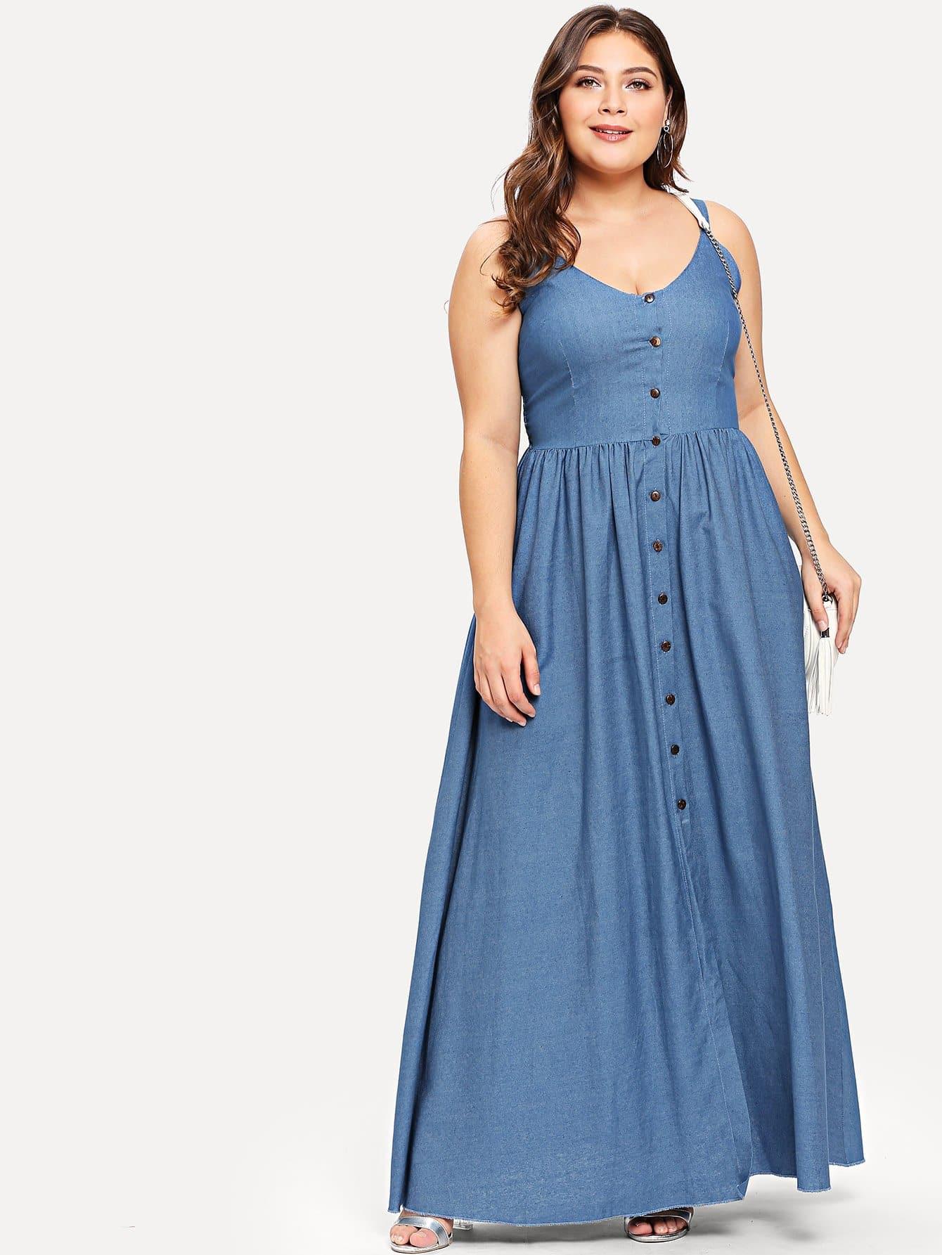 Langes Kleid Mit Knopfleiste Und Plisseefalten  Shein