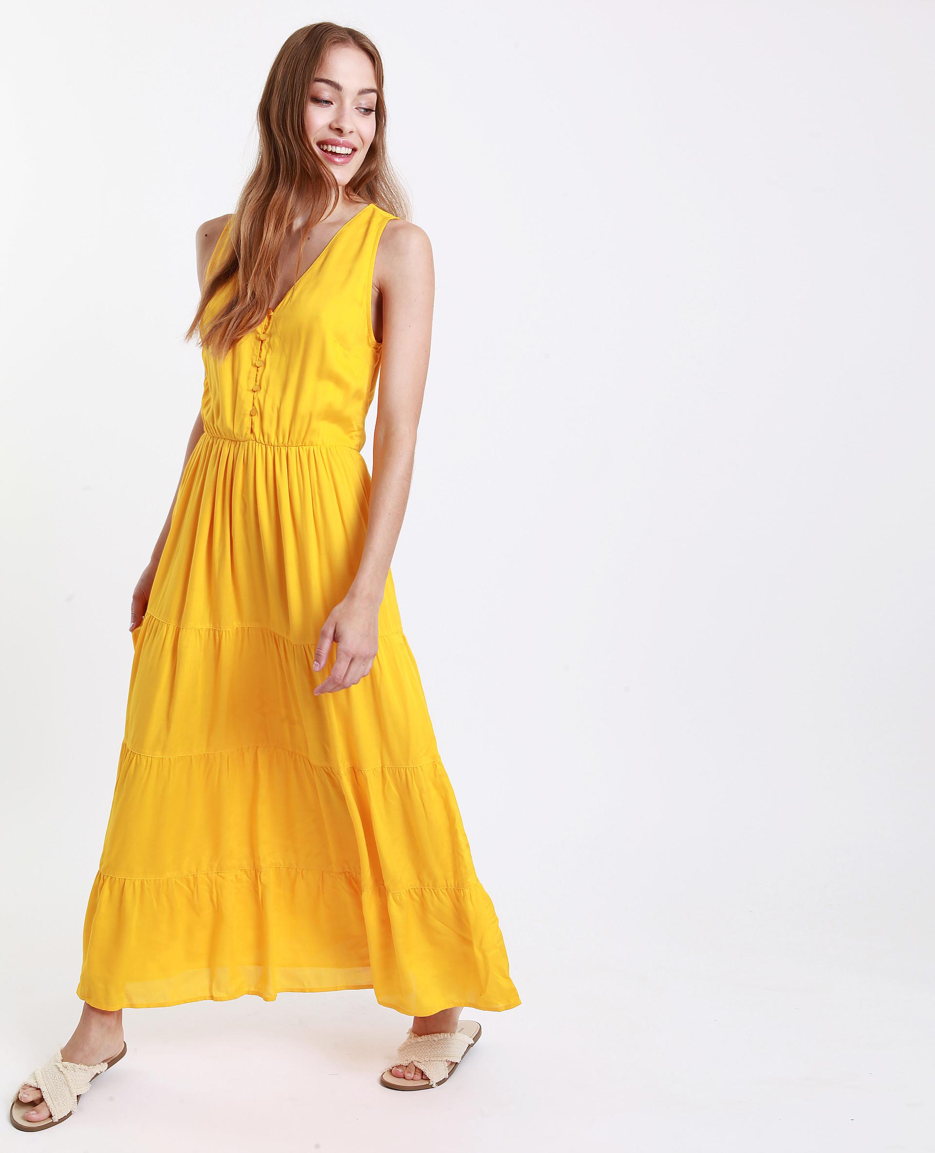 Langes Kleid Mit Rückenausschnitt Gelb  781251016A00  Pimkie