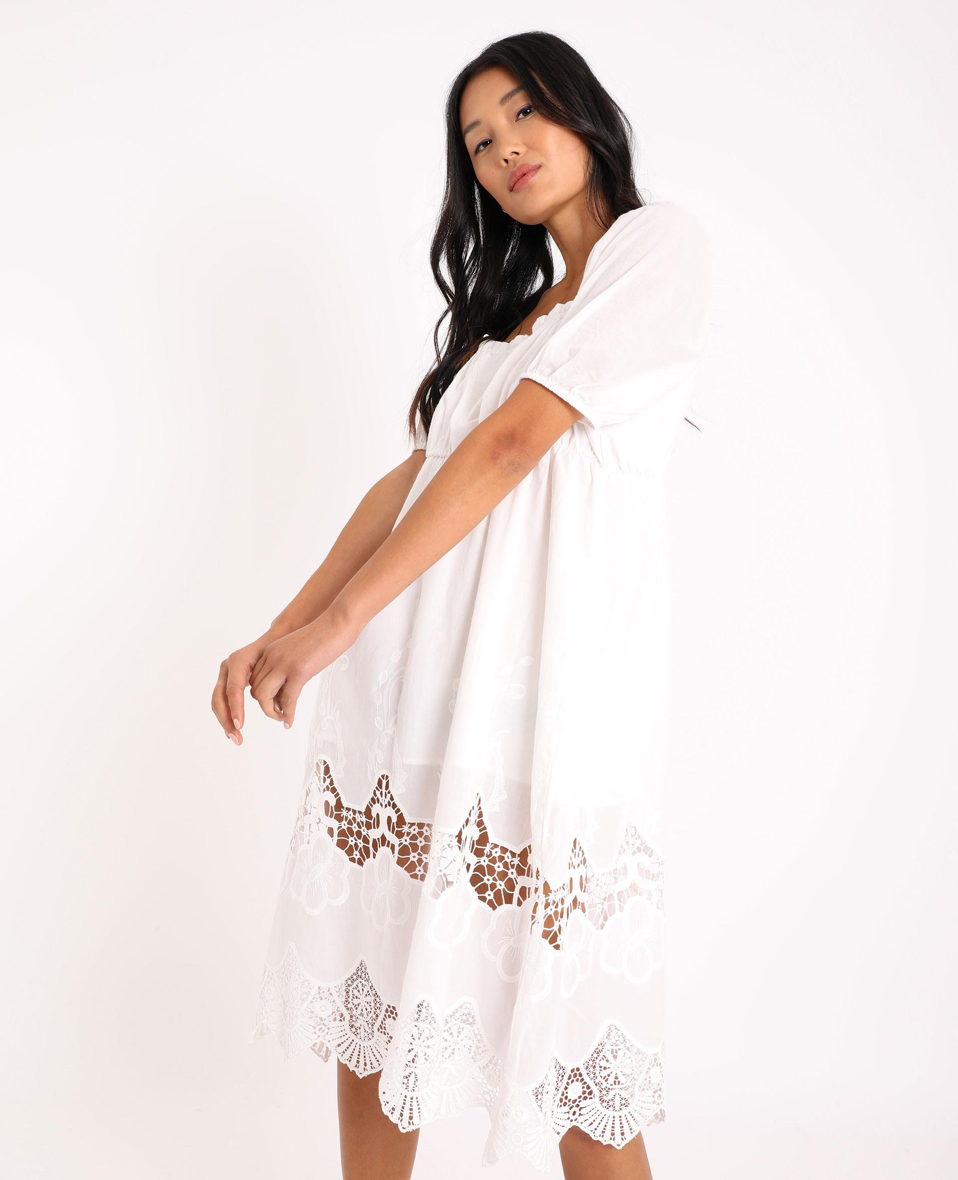 Langes Kleid Mit Stickerei Naturweiß 40  781462765A09