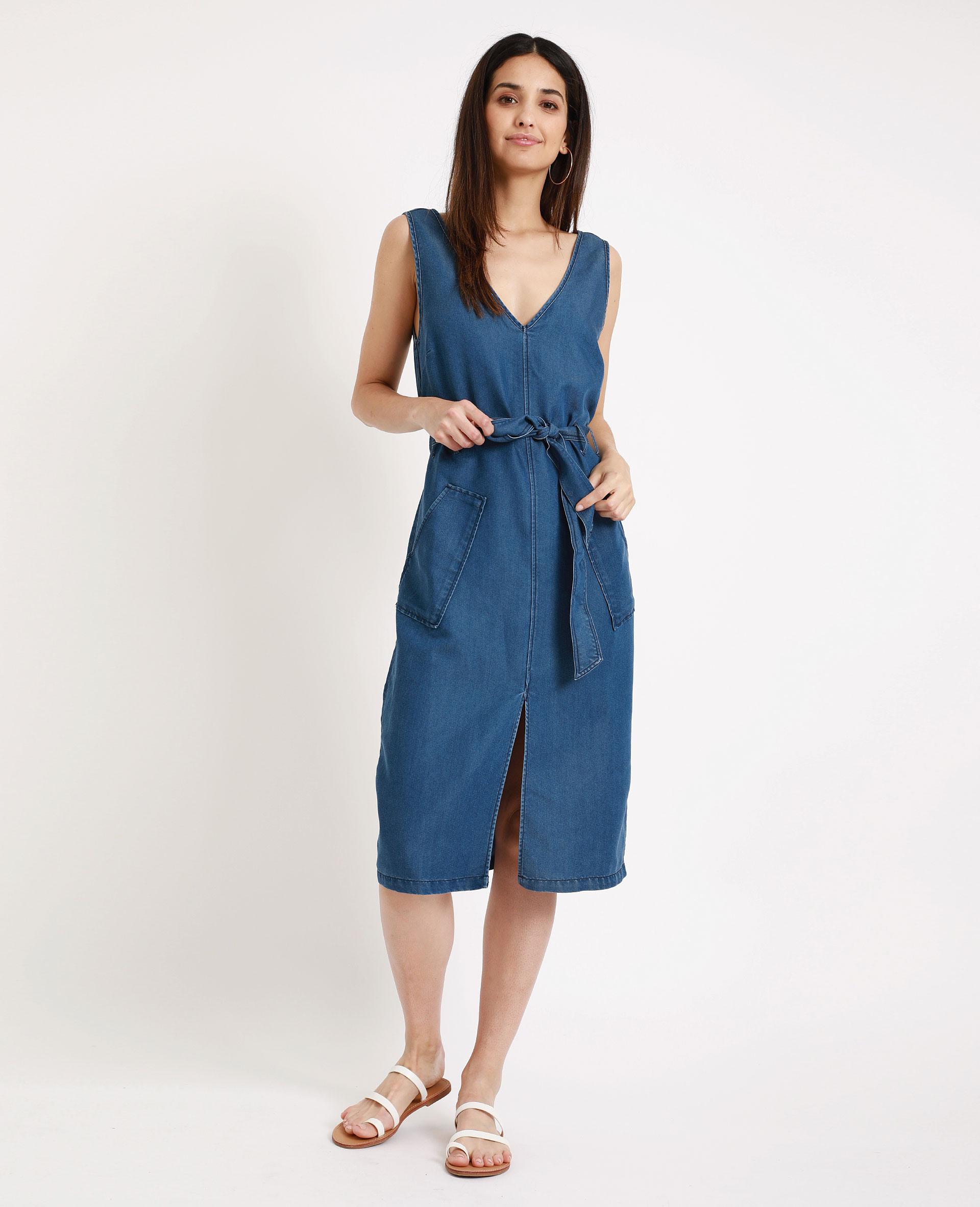 Langes Kleid Mit Vausschnitt Blau  781275681A06  Pimkie