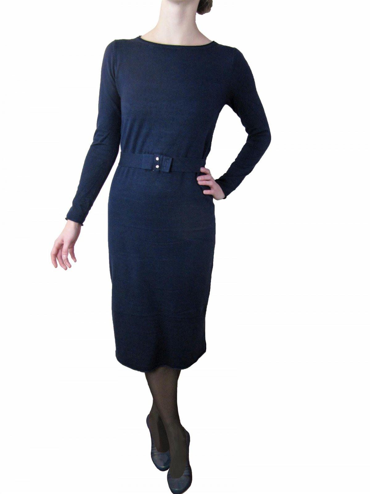 Langes Midi Strickkleid Kleid Tunika Gürtel Strass