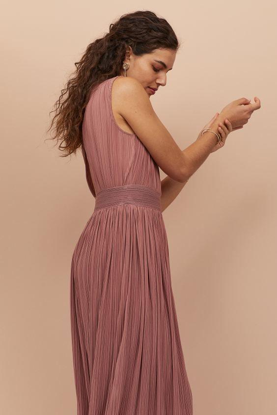 Langes Plissiertes Kleid  Altrosa  Ladies  Hm De 3 In
