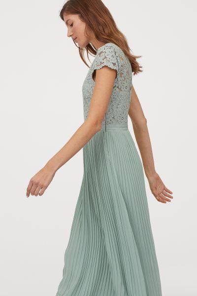 Langes Plissiertes Kleid  Mintgrün  Ladies  Hm De In