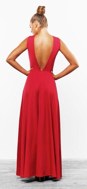 Langes Rotes Kleid Elegant Kleid Boden Hochzeit Maxikleid
