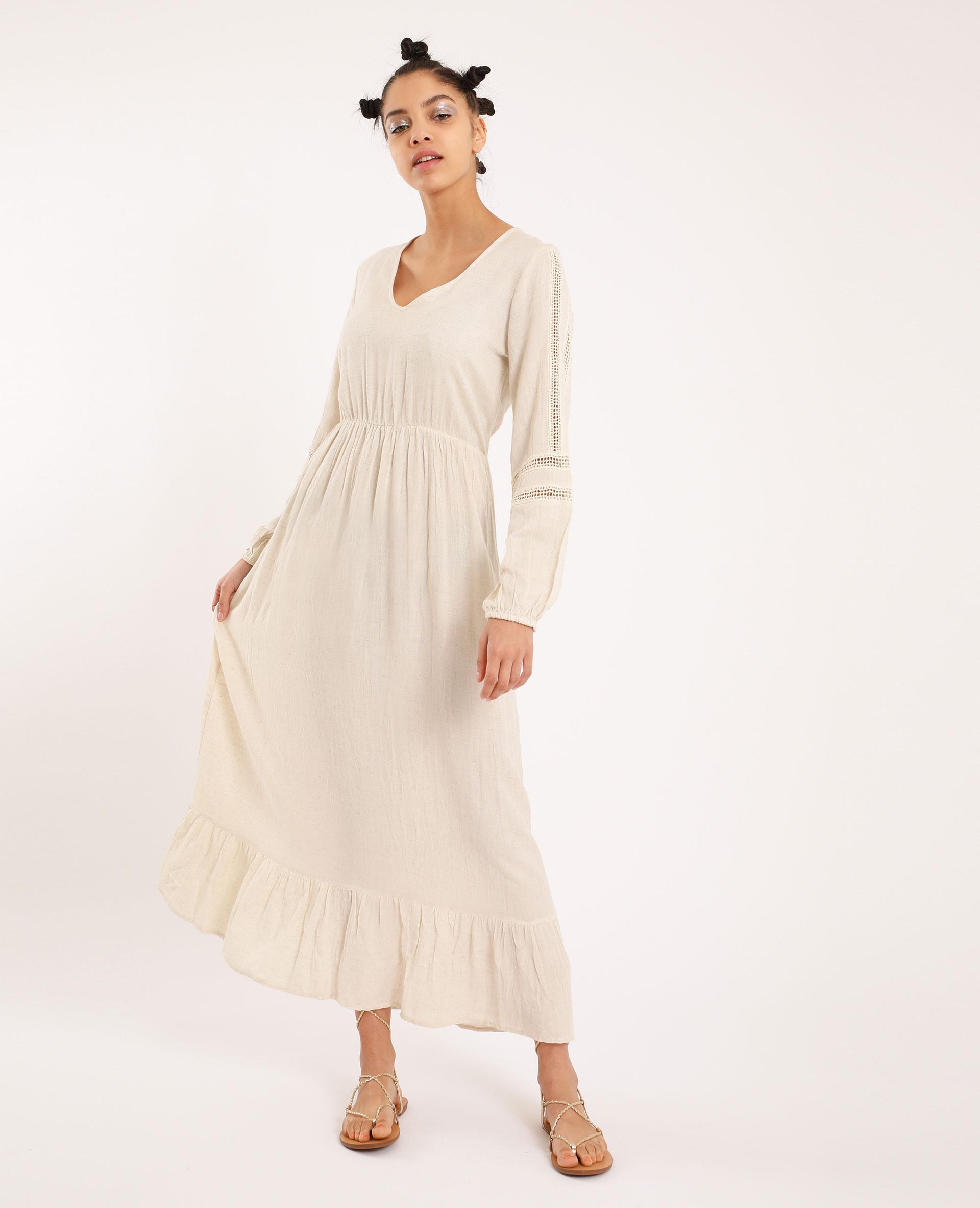 Langes Rustikales Kleid Beige  781425E12A0E  Pimkie