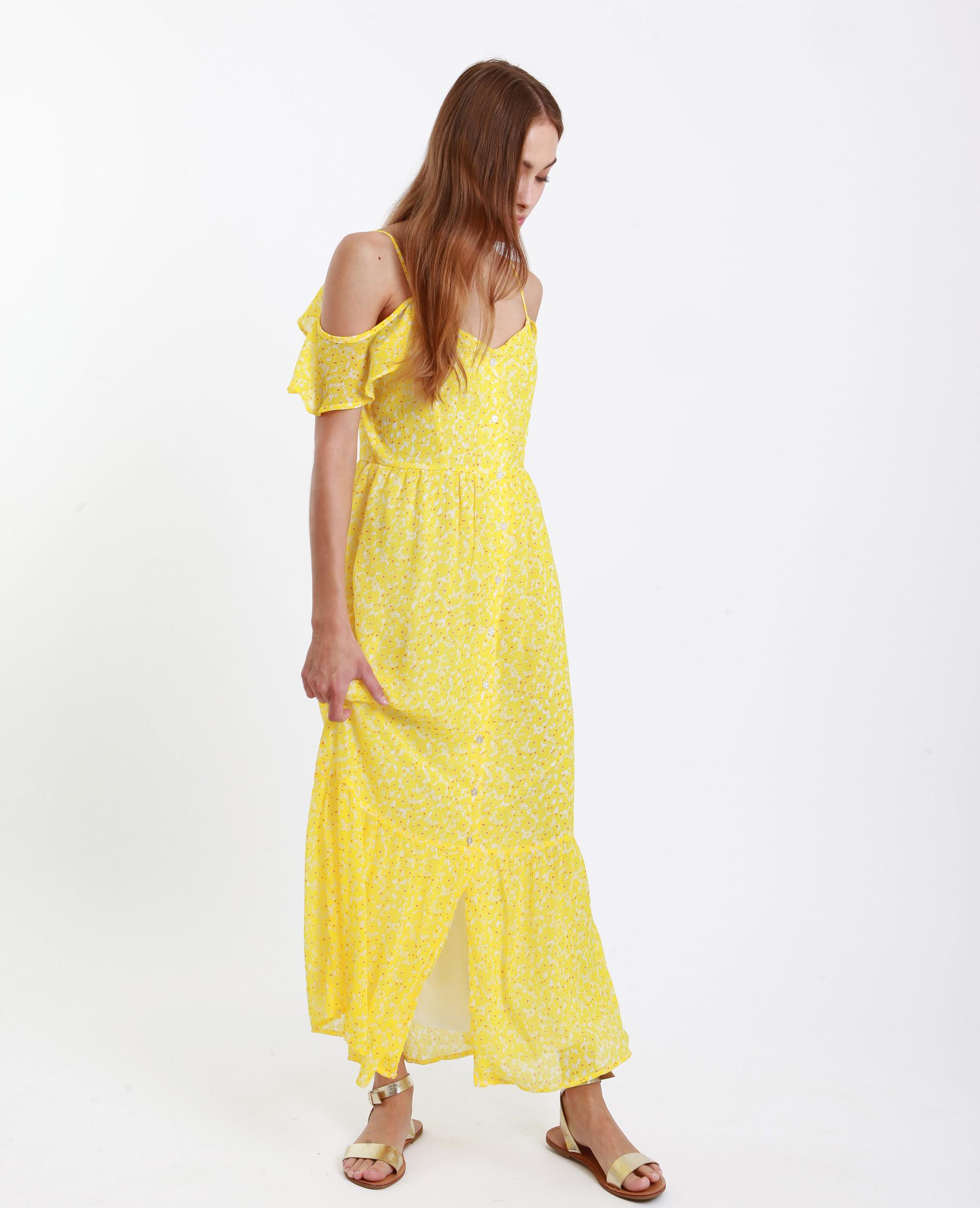 Langes Schulterfreies Kleid Gelb 55  781245016E00  Pimkie