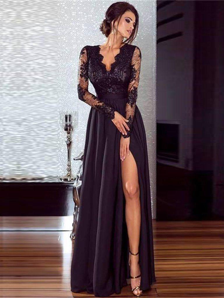 Langes Schwarzes Kleid Mit Schlitz  Abendkleider