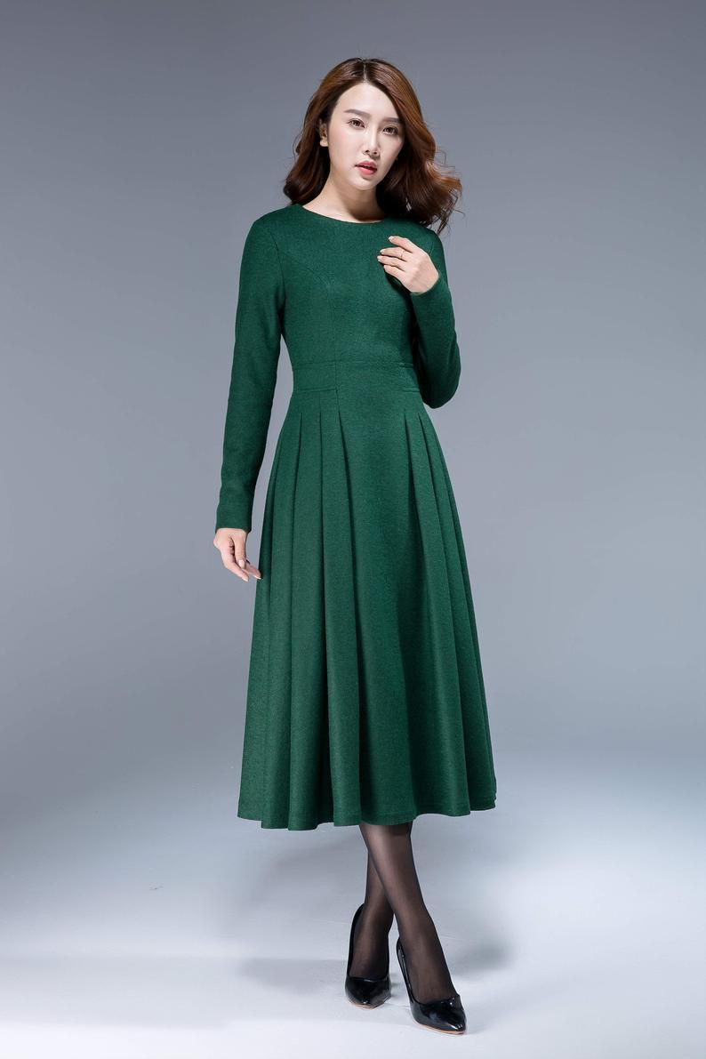 Langes Schwarzes Kleid Wollkleid Winterkleid Lange