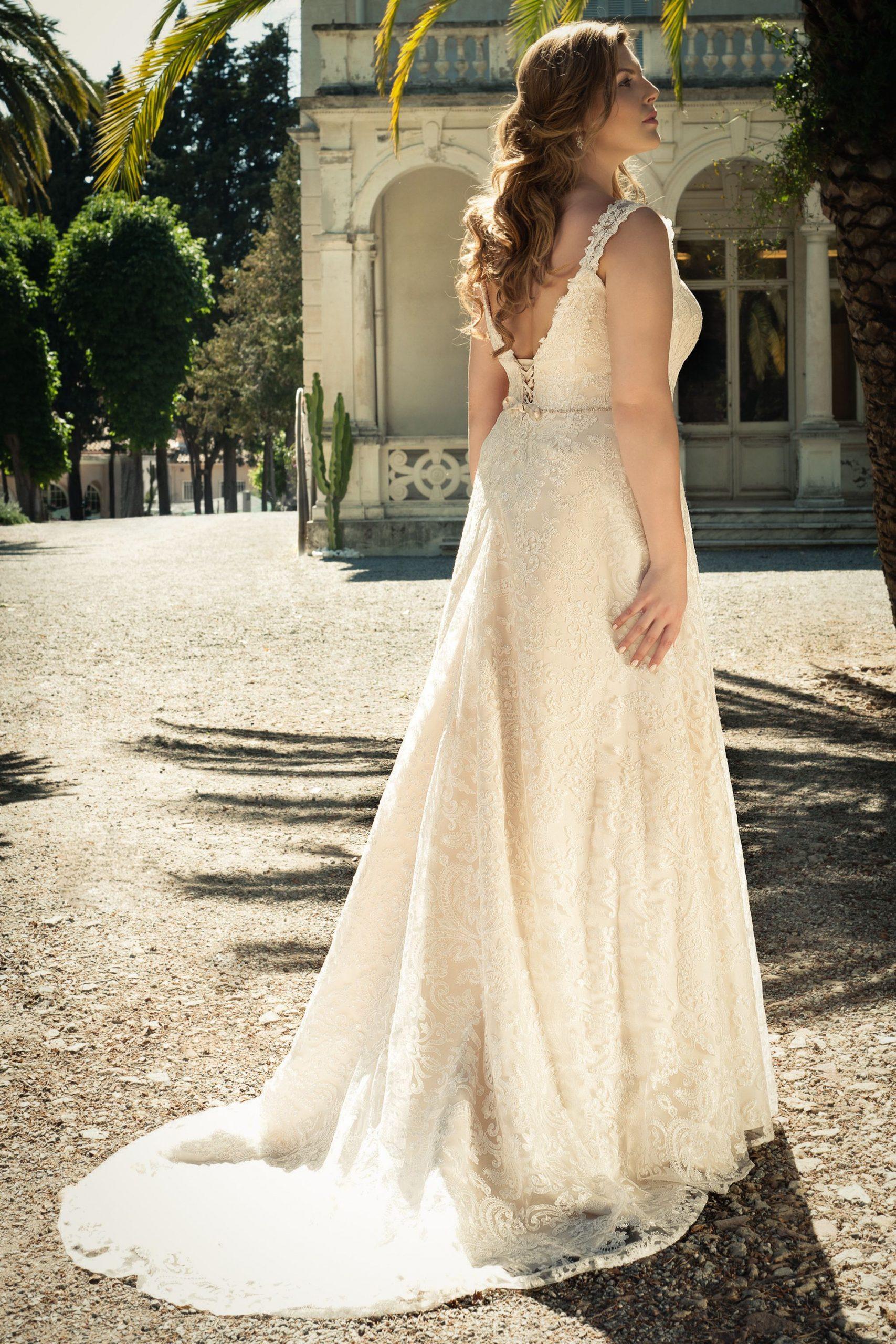 Langes Spitzenkleid Brautkleid Große Größen Ivory Beige