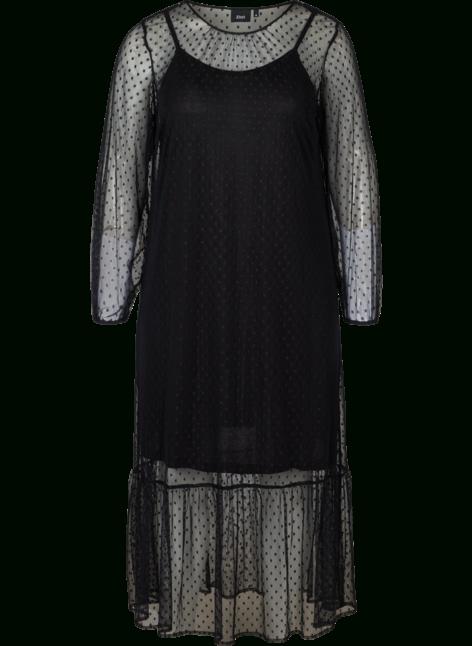 Langes Transparentes Kleid Mit Pünktchen  Schwarz  Str