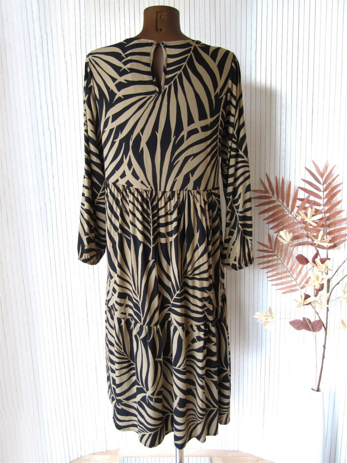 Langes Traum Ibiza Boho Midi Kleid Tunika Palmen Blätter