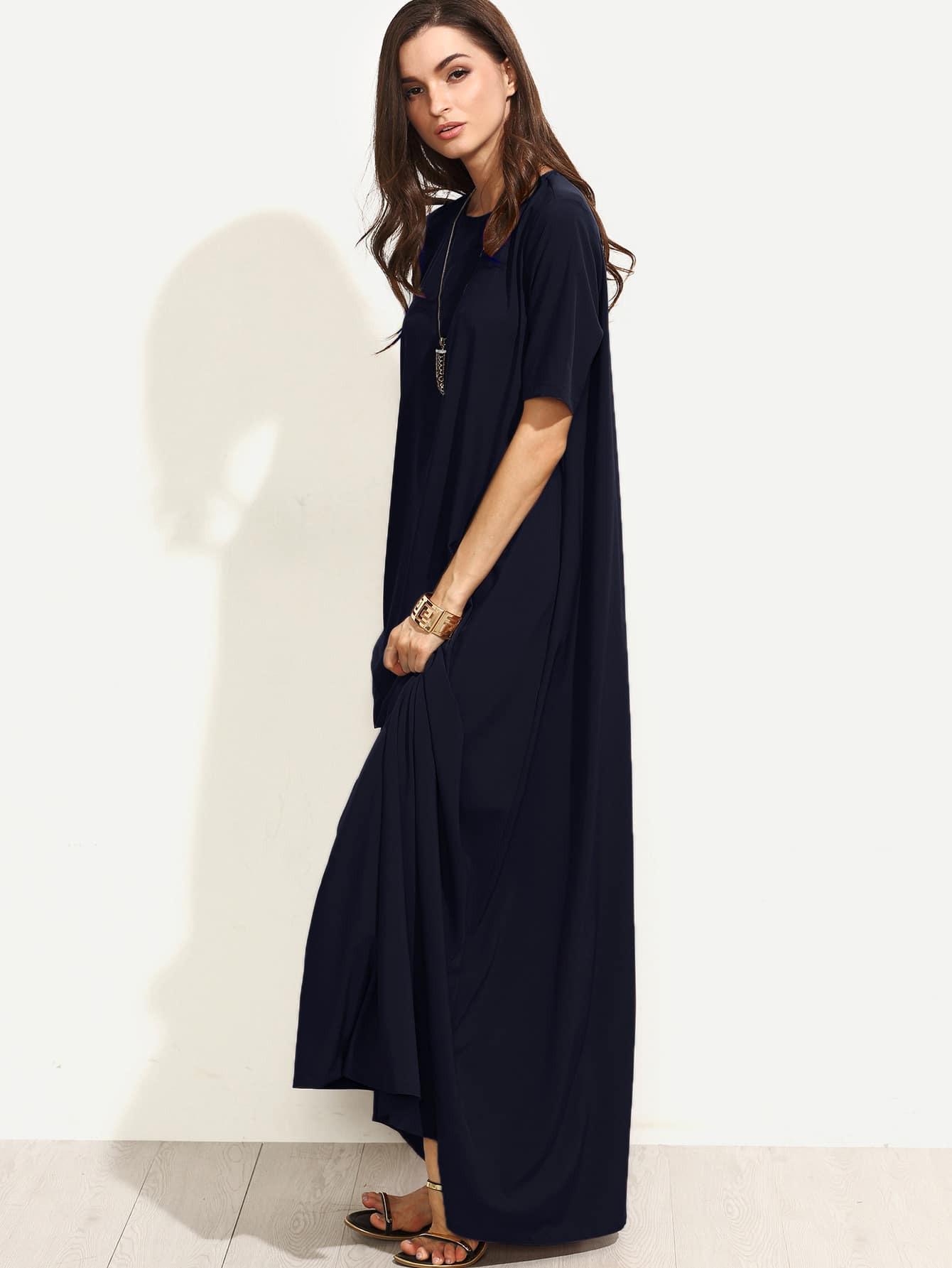 Langes Tshirt Kleid Mit Reißverschluss Hinten  Shein
