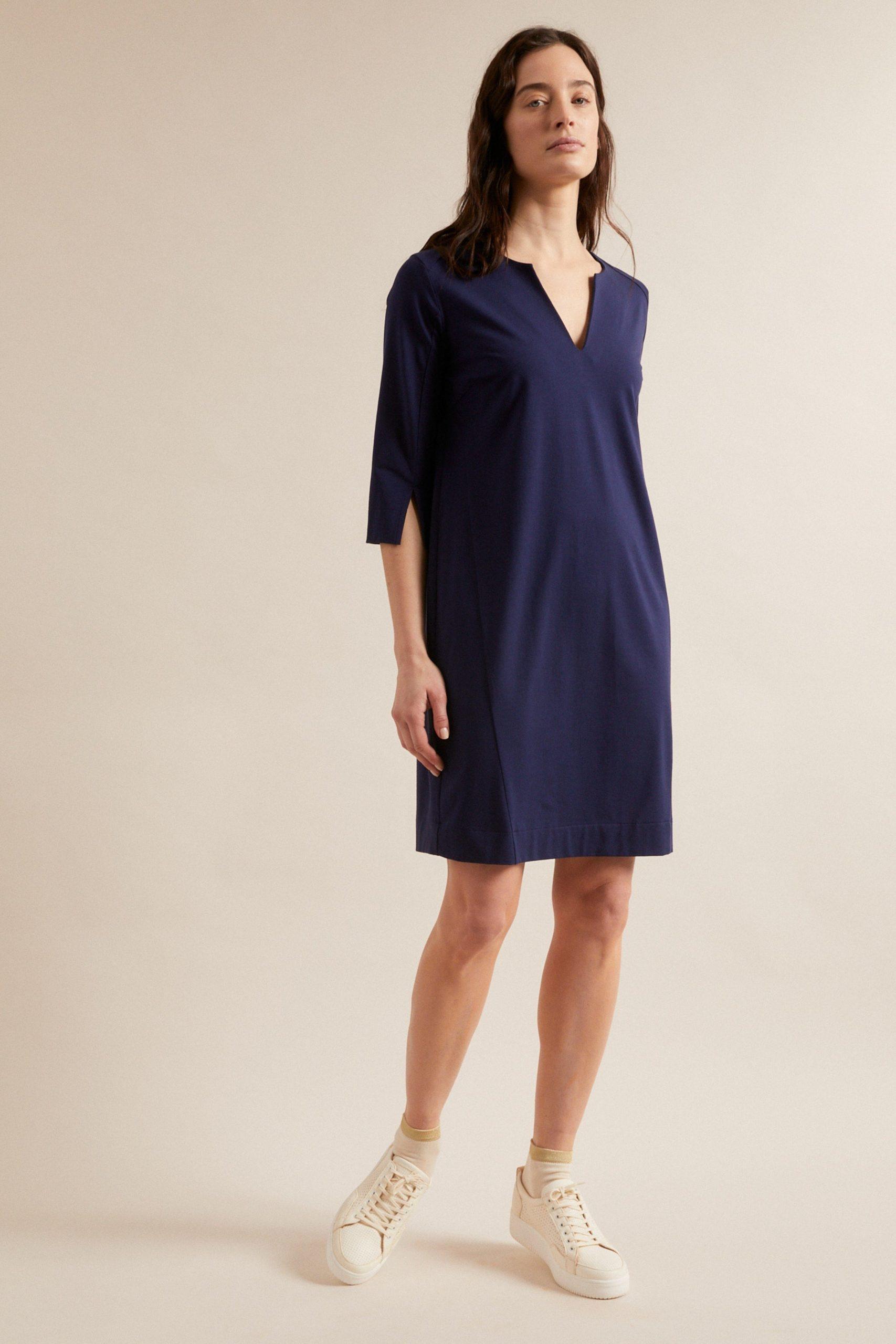 Lanius Kleid Mit Ärmelschlitz Blau  Loveco