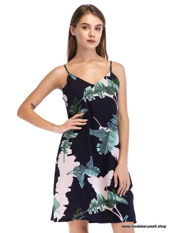 Lässige Ärmelloses Sommerkleid 2019 Mit Blumenmuster In