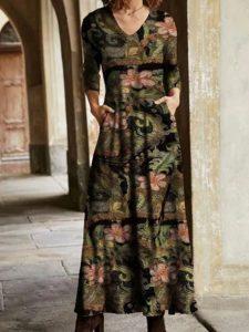 Lässige Geblümte Kleider Mit Langarm  Dresses  Zolucky