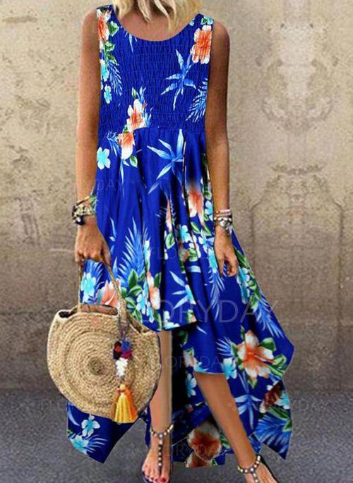 Lässige Kleidung Ärmellos Blumen Asymmetrische Kleider
