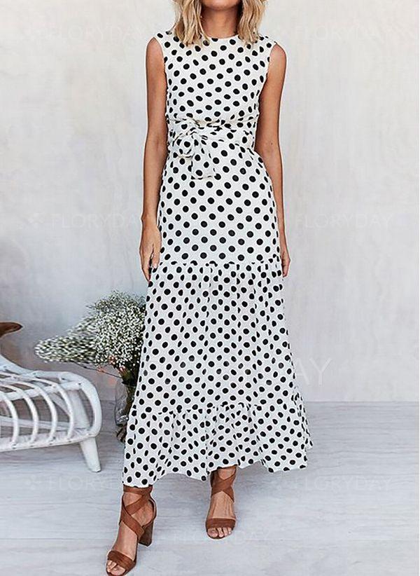 Lässige Kleidung Ärmellos Gepunktet Maxi Kleider  Floryday